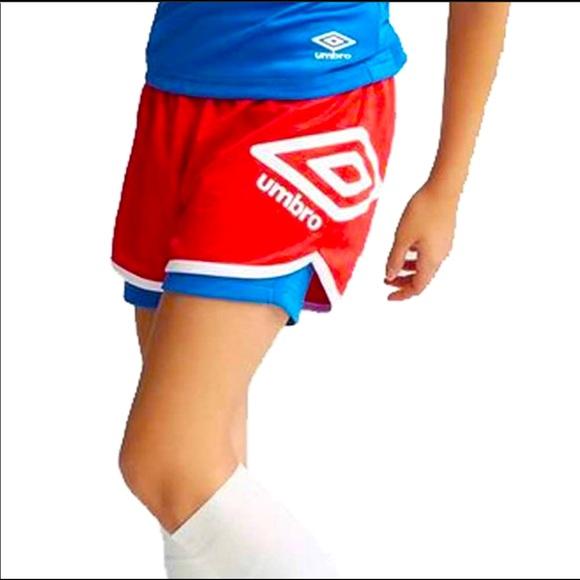Umbro Girl's Soccer Training 2 n 1 Shorts Red Blue